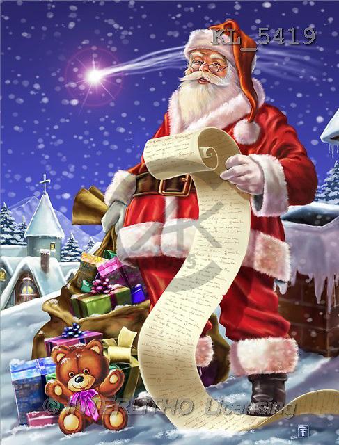 Interlitho, Lorenzo, CHRISTMAS SANTA, SNOWMAN, paintings, santa, list, bag(KL5419,#X#) Weihnachtsmänner, Schneemänner, Weihnachen, Papá Noel, muñecos de nieve, Navidad, illustrations, pinturas