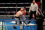 2nd February 2019 The O2 Arena, London, England; Boxing, European Super-Welterweight Championship, Sergio Garcia versus Ted Cheeseman; Undercard fight as  John Doherty connects a upper cut on Przemyslaw Binienda