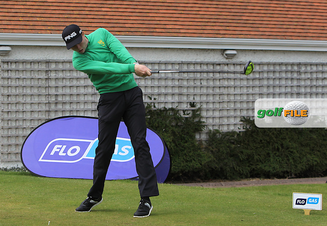 Robin Dawson (Waterford) on the 1st tee during the Flogas Irish Amateur Open Championship Am-Am at Royal Dublin on Monday 9th May 2016.<br /> Picture:  Thos Caffrey / www.golffile.ie