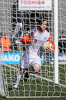 Jack Marriott of Luton Town collects the ball before realising that his effort is ruled out for off-side during the Sky Bet League 2 match between Barnet and Luton Town at The Hive, London, England on 28 March 2016. Photo by David Horn.