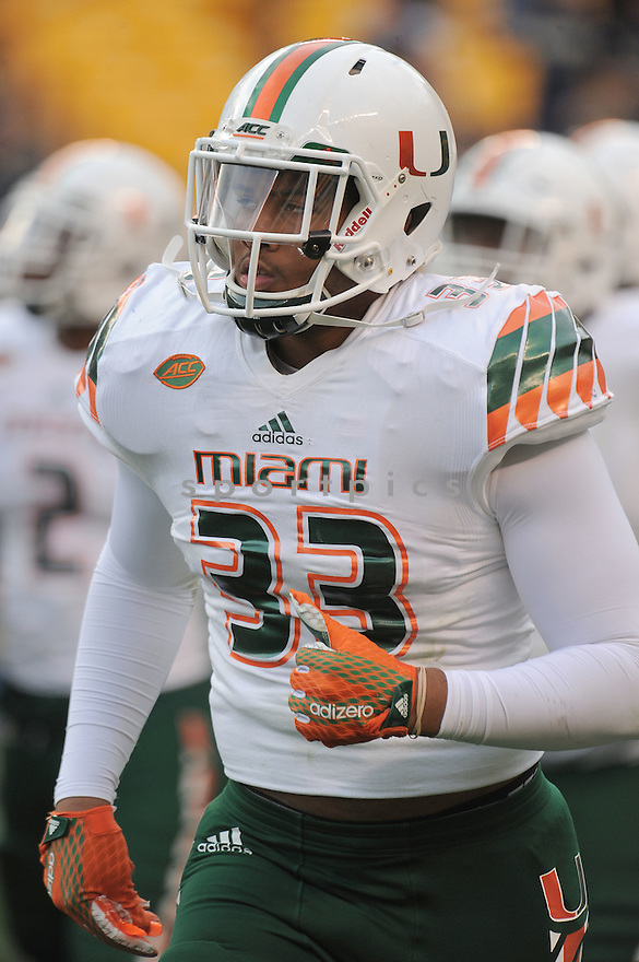 Miami Hurricanes Trent Harris (33) during a game against the Pittsburgh Panthers on November 27, 2015 at Heinz Field in Pittsburgh, PA. Miami beat Pittsburgh 29-24.