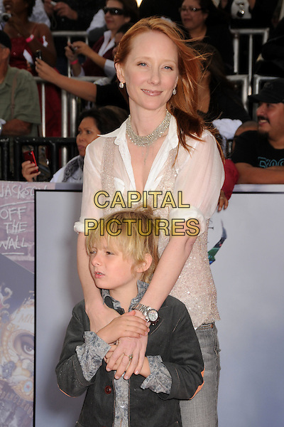 ANNE HECHE & HOMER.'This Is It' Los Angeles Premiere held at NOKIA Theatre L.A. LIVE, Los Angeles, California, USA, .October 27th, 2009.half length white shirt necklace black jacket grey gray son mother mom mum family silver .CAP/ADM/BP.©Byron Purvis/AdMedia/Capital Pictures.