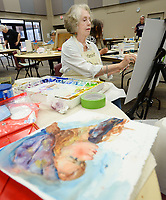 NWA Democrat-Gazette/ANDY SHUPE<br /> Carol Roberts of Siloam Springs concentrates Wednesday, June 5, 2019, on a portrait of a model during a watercolor class at Sequoyah United Methodist Church in Fayetteville. The four-day workshop, organized by the Artists of Northwest Arkansas, featured a morning lecture by Stephens and an afternoon of supervised painting.