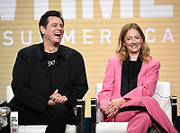 "BEVERLY HILLS - AUGUST 2: Executive Producer/Star Jim Carrey and Judy Greer onstage during the ""Kidding"" panel at the Showtime portion of the Summer 2019 TCA Press Tour at the Beverly Hilton on August 2, 2019 in Los Angeles, California. (Photo by Frank Micelotta/PictureGroup)"