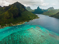WM90329-D. Aerial view of Moorea, considered by many to be one of the most beautiful tropical islands in the world. The coral reefs surrounding the island are home to colorful fishes, invertebrates, and sharks and attract scuba divers from around the world. Society Islands, French Polynesia, Pacific Ocean.<br /> Photo Copyright © Brandon Cole. All rights reserved worldwide.  www.brandoncole.com