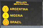 23 August 2008: The scoreboard shows the Men's Football medalists. The Medal Ceremony for the Men's Olympic Football Tournament was held at the National Stadium in Beijing, China after the Gold Medal match.
