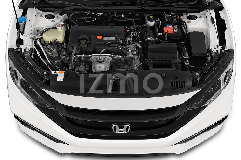 Car stock 2019 Honda Civic-Coupe Sport 2 Door Coupe engine high angle detail view