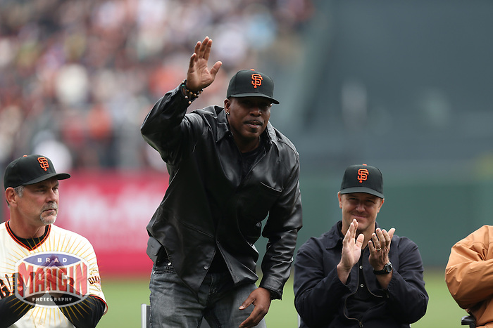 SAN FRANCISCO, CA - APRIL 6:  San Francisco Giants manager Bruce Bochy, Kevin Mitchell, and Jeff Kent sit on the field during a ceremony honoring Buster Posey for winning the 2012 National League MVP before the Giants game against the St. Louis Cardinals at AT&T Park on April 6, 2013 in San Francisco, California. Photo by Brad Mangin