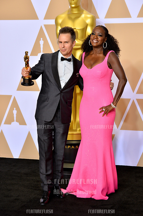 Sam Rockwell &amp; Viola Davis at the 90th Academy Awards Awards at the Dolby Theartre, Hollywood, USA 04 March 2018<br /> Picture: Paul Smith/Featureflash/SilverHub 0208 004 5359 sales@silverhubmedia.com