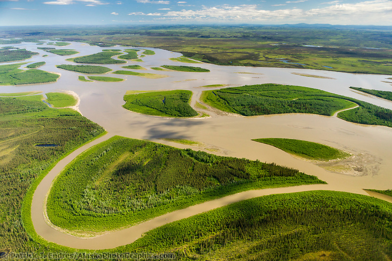 Aerial view of the expansive Yukon river in Interior Alaska, near the town of Circle.
