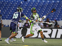 Annapolis, MD - July 7, 2018: New York Lizards Rob Pannell (3) passes the ball during the game between New York Lizards and Chesapeake Bayhawks at Navy-Marine Corps Memorial Stadium in Annapolis, MD.   (Photo by Elliott Brown/Media Images International)