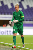 20190912 - Anderlecht , BELGIUM : BIIK-Kazygurt's goal keeper Oksana Zheleznyak is pictured during the female soccer game between the Belgian Royal Sporting Club Anderlecht Dames  and BIIK Kazygurt from Shymkent in Kazachstan, this is the first leg in the round of 32 of the UEFA Women's Champions League season 2019-20120, Thursday 12 th September 2019 at the Lotto Park in Anderlecht , Belgium. PHOTO SPORTPIX.BE | SEVIL OKTEM