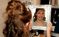 Sarah getting ready before her wedding.