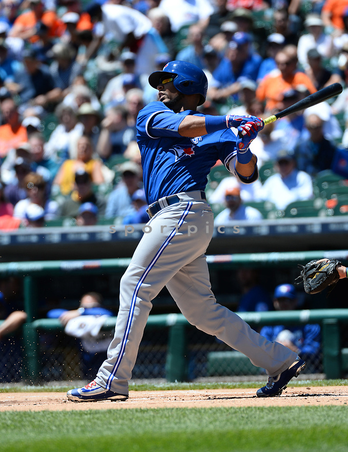 Toronto Blue Jays Edwin Encarnacion (10) during a game against the Detroit Tigers on June 8, 2016 at Comerica Park in Detroit MI. The Blue Jays beat the Tigers 7-2.
