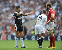 Referee Marius Mitrea of Italy invites Alun Wyn Jones of Wales to step back as he challenges the decision to award Jack Clifford of England a try during the Old Mutual Wealth Cup match between England and Wales at Twickenham Stadium on Sunday 29th May 2016 (Photo: Rob Munro/Stewart Communications)