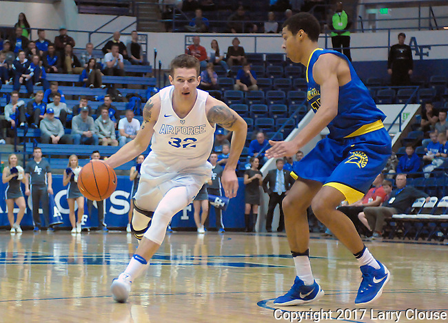 January 14, 2017:  Air Force forward, Ryan Manning #32, drives the lane during the NCAA basketball game between the San Jose State Spartans and the Air Force Academy Falcons, Clune Arena, U.S. Air Force Academy, Colorado Springs, Colorado.  San Jose State defeats Air Force 89-85.