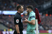 Arsenal's Sead Kolasinac has words with the linesman<br /> <br /> Photographer Rob Newell/CameraSport<br /> <br /> The Premier League - West Ham United v Arsenal - Saturday 12th January 2019 - London Stadium - London<br /> <br /> World Copyright © 2019 CameraSport. All rights reserved. 43 Linden Ave. Countesthorpe. Leicester. England. LE8 5PG - Tel: +44 (0) 116 277 4147 - admin@camerasport.com - www.camerasport.com