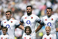 Jack Singleton, Elliott Stooke and Zach Mercer of England sing the national anthem. Quilter Cup International match between England and the Barbarians on May 27, 2018 at Twickenham Stadium in London, England. Photo by: Patrick Khachfe / Onside Images