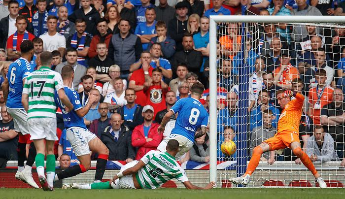 01.09.2019 Rangers v Celtic: Allan McGregor saves from Christopher Jullien