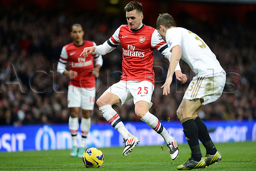 01.12.2012 London, England. Carl Jenkinson Of Arsenal in action during the Premier League game between Arsenal and Swansea City from the Emirates Stadium...