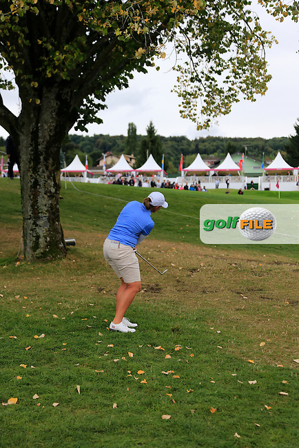 Angela Stanford (USA) chips up to the 15th green during Saturday's Round 3 of The 2016 Evian Championship held at Evian Resort Golf Club, Evian-les-Bains, France. 17th September 2016.<br /> Picture: Eoin Clarke | Golffile<br /> <br /> <br /> All photos usage must carry mandatory copyright credit (&copy; Golffile | Eoin Clarke)