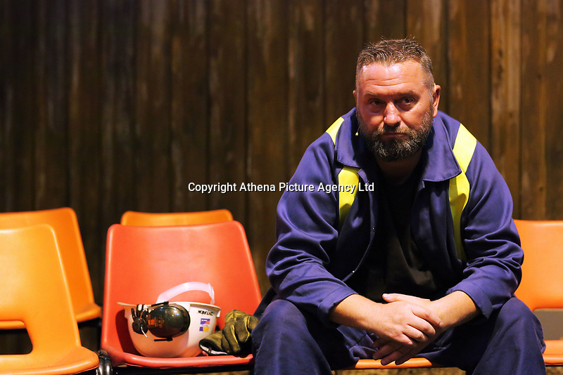 """Pictured: Actor Jason May<br /> Re: Press rehearsal of """"We'Re Still Here"""", a play created by Rachel Trezise, Common Wealth and the National Theatre Wales about steelworkers, which will be performed in Byass Works, a disused industrial unit, in Port Talbot, south Wales, UK."""