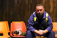"Pictured: Actor Jason May<br /> Re: Press rehearsal of ""We'Re Still Here"", a play created by Rachel Trezise, Common Wealth and the National Theatre Wales about steelworkers, which will be performed in Byass Works, a disused industrial unit, in Port Talbot, south Wales, UK."