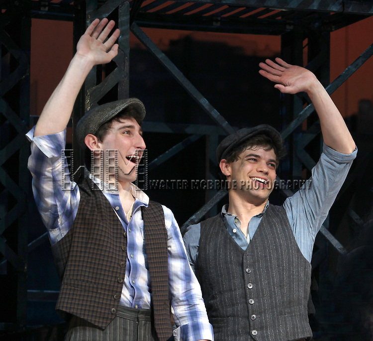 Ben Frankhauser & Jeremy Jordan.during the 'NEWSIES' Opening Night Curtain Call at the Nederlander Theatre in New York on 3/29/2012