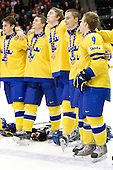 ?, Jacob Josefson (Sweden - 10), Mattias Ekholm (Sweden - 14), ?, Mattias Tedenby (Sweden - 9) - Team Sweden celebrates after defeating Team Switzerland 11-4 to win the bronze medal in the 2010 World Juniors tournament on Tuesday, January 5, 2010, at the Credit Union Centre in Saskatoon, Saskatchewan.