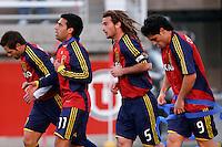 Real Salt Lake's Dema Kovalenko (21), Javier Morales (11) Kyle Beckerman (5) and Fabian Espindola (9) in the Real Salt Lake 4-0 over DC United at Rice-Eccles Stadium in Salt Lake City, Utah on April 12, 2008