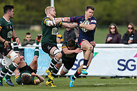 Jason Harries of London Scottish on the ball during the Greene King IPA Championship match between London Scottish Football Club and Nottingham Rugby at Richmond Athletic Ground, Richmond, United Kingdom on 15 April 2017. Photo by David Horn.
