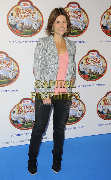 Harriet Scott<br /> attended the &quot;Thomas &amp; Friends: King of the Railway&quot; VIP film screening, Vue West End cinema, Leicester Square, London, England.<br /> August 18th, 2013<br /> full length jeans denim grey gray pattern blazer pink top black<br /> CAP/CAN<br /> &copy;Can Nguyen/Capital Pictures