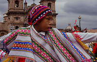 Cusco, Peru. 25 July 2014. A Peruvian boy watch the Military parade for the 193rd Independence's anniversary of Peru.  Photo by Juan Gabriel Lopera/VIEWpress.