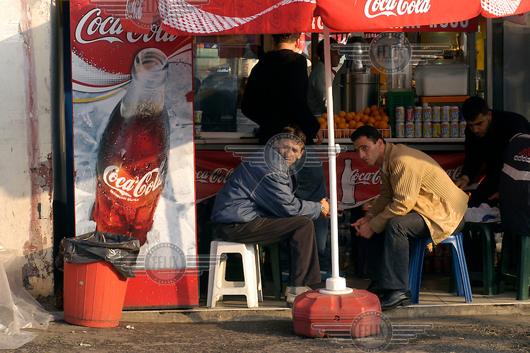 Advertising for Coca Cola on snack stall by the Galata Bridge..