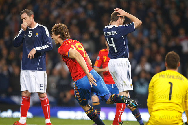 Llorente nips in to score the winner for Spain as David Weir and Stephen McManus are devastated