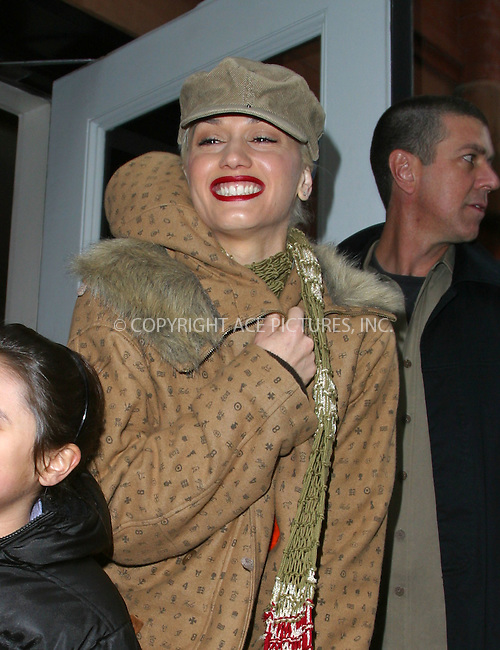 "Gwen Stefani of ""No Doubt"" greeted by her fans as she leaves his hotel in SoHo, New York, February 24, 2003. Please byline: Alecsey Boldeskul/NY Photo Press.   ..*PAY-PER-USE*      ....NY Photo Press:  ..phone (646) 267-6913;   ..e-mail: info@nyphotopress.com"