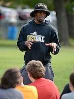 Rasheed Bailey speaks with members of the Lenape Middle School football team Monday April 27, 2015 at Lenape Middle School in Doylestown, Pennsylvania. (Photo by William Thomas Cain/Cain Images)