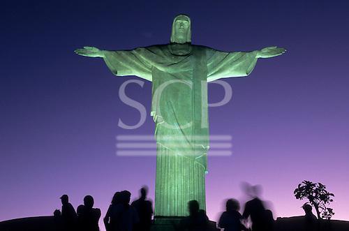 Rio de Janeiro, Brazil. Christ Statue at night with greenish floodlights.