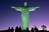 Rio de Janeiro, Brazil. Christ Statue at night with greenish floodlights.