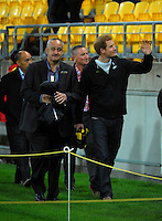 Prince Harry walks to the Hurricanes changing rooms with Hurricanes chief executive James Te Puni after the Super Rugby match between the Hurricanes and Sharks at Westpac Stadium, Wellington, New Zealand on Saturday, 9 May 2015. Photo: Dave Lintott / lintottphoto.co.nz