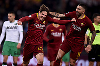 Nicolo Zaniolo Roma celebrates after scoring a goal with team made Kolarov.<br /> Roma 26-12-2018 Stadio Olimpico<br /> Football Calcio Campionato Serie A<br /> 2018/2019 <br /> AS Roma - Sassuolo<br /> Foto Antonietta Baldassarre / Insidefoto