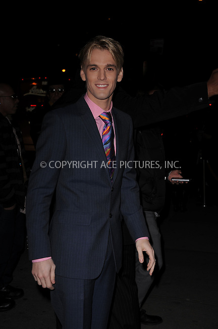 WWW.ACEPIXS.COM . . . . . .January 18, 2012...New York City....Aaron Carter attends the Cinema Society  screening of 'Haywire' at Landmark Sunshine Cinema on January 18, 2012 in New York City. ....Please byline: KRISTIN CALLAHAN - ACEPIXS.COM.. . . . . . ..Ace Pictures, Inc: ..tel: (212) 243 8787 or (646) 769 0430..e-mail: info@acepixs.com..web: http://www.acepixs.com .