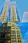 Reflections in the windows of a building in Midtown Manhattan, New York City.