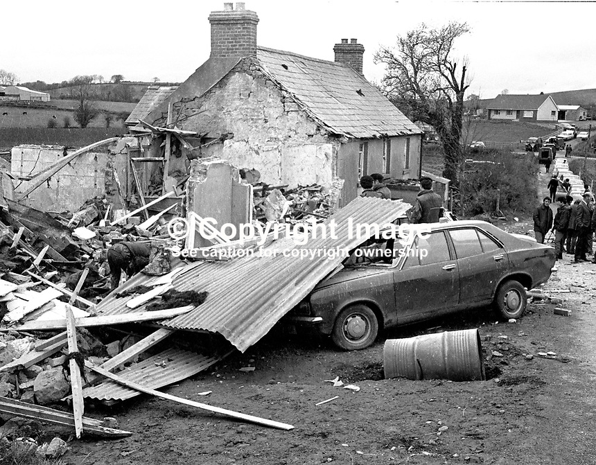 Scene of explosion at Killyliss, midway between Dungannon & Ballygawley, Co Tyrone, in which Mrs Marion Bowen, 8 months pregnant, and her two brothers Seamus & Michael McKenna were killed. Mrs Bowen had met up with her brothers at the house which they were renovating for her and her husband. It had been unoccupied for about a year. The bombing was subsequently admitted by the Protestant Action Force, a cover name for the UVF. 197504170439a..Copyright Image from Victor Patterson, 54 Dorchester Park, Belfast, UK, BT9 6RJ..Tel: +44 28 9066 1296.Mob: +44 7802 353836.Voicemail +44 20 8816 7153.Skype: victorpattersonbelfast.Email: victorpatterson@me.com.Email: victorpatterson@ireland.com (back-up)..IMPORTANT: If you wish to use this image or any other of my images please go to www.victorpatterson.com and click on the Terms & Conditions. Then contact me by email or phone with the reference number(s) of the image(s) concerned.