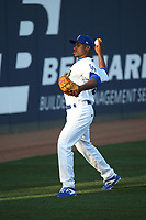 Josiah Gray (22) of the Rancho Cucamonga Quakes warms up in the outfield prior to the game against the Lancaster JetHawks at LoanMart Field on June 4, 2019 in Rancho Cucamonga, California. (Larry Goren/Four Seam Images)