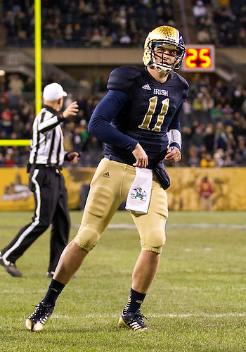 October 06, 2012:  Notre Dame quarterback Tommy Rees (11) during NCAA Football game action between the Notre Dame Fighting Irish and the Miami Hurricanes at Soldier Field in Chicago, Illinois.  Notre Dame defeated Miami 41-3.