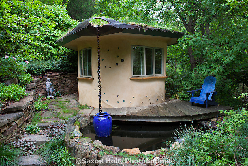 Straw bale hut with living roof and rain chain into pond to collect water; Taylor garden