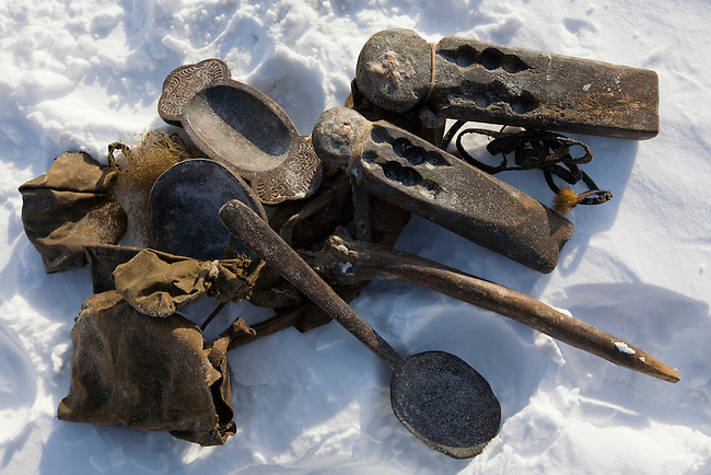 Idols & other traditional sacred objects used by Chukchi reindeer herders in rituals to protect their family & reindeer. Chukotskiy Peninsula, Chukotka, Siberia, Russia