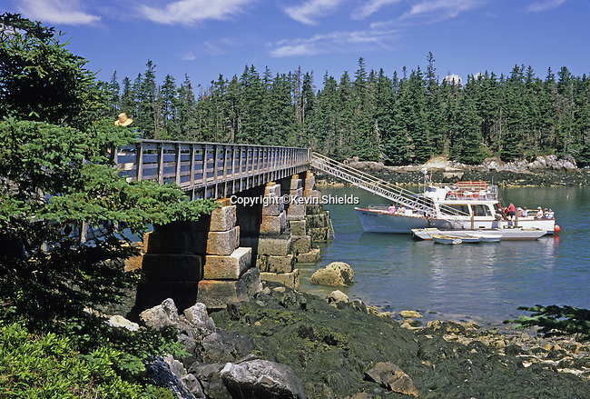 Ferry boat at the National Park Service dock at Duck Harbor, Acadia National Park, Isle Au Haut, Maine, USA