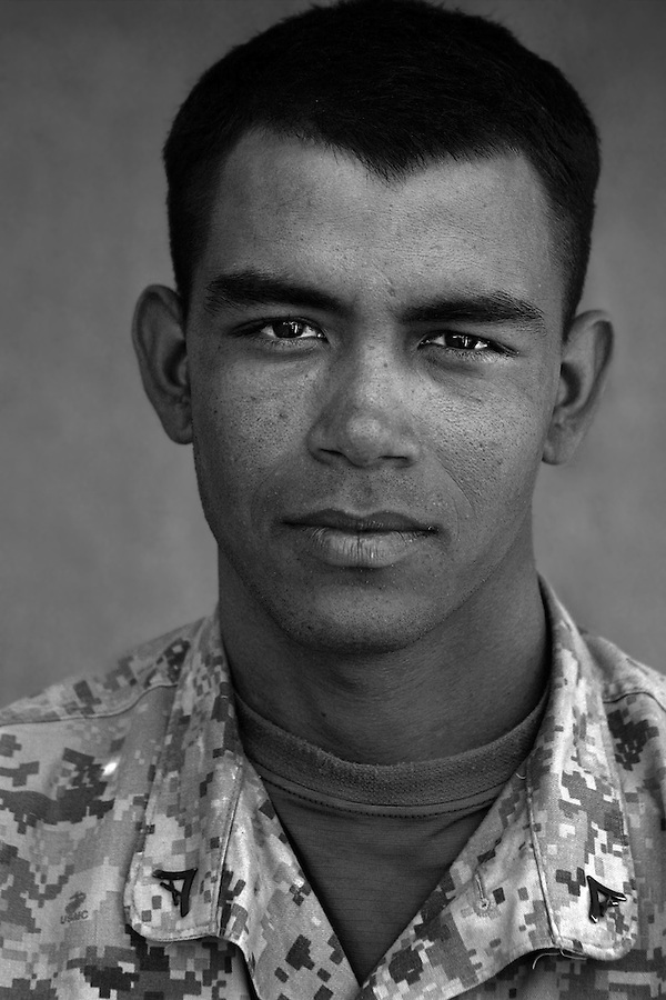 Lcpl. Jesus Valdez, 20, Dallas, Texas, Second Platoon, Kilo Co., 3rd Battalion 1st Marines, United States Marine Corps, at the company's firm base in Haditha, Iraq on Sunday Oct. 22, 2005.